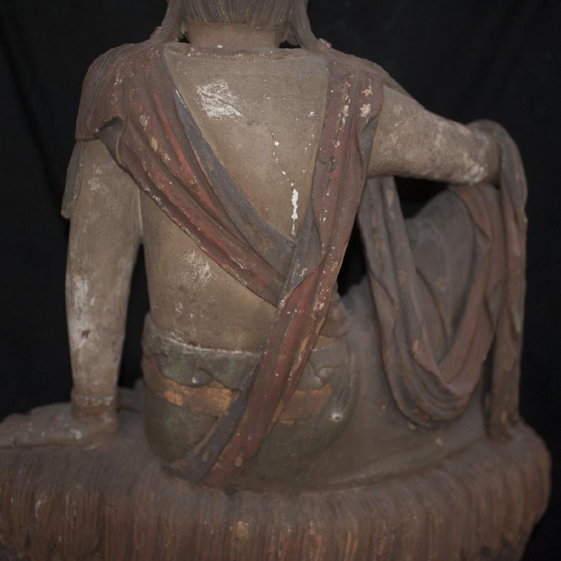 Antique Chinese Polychrome Wood Guanyin - 4