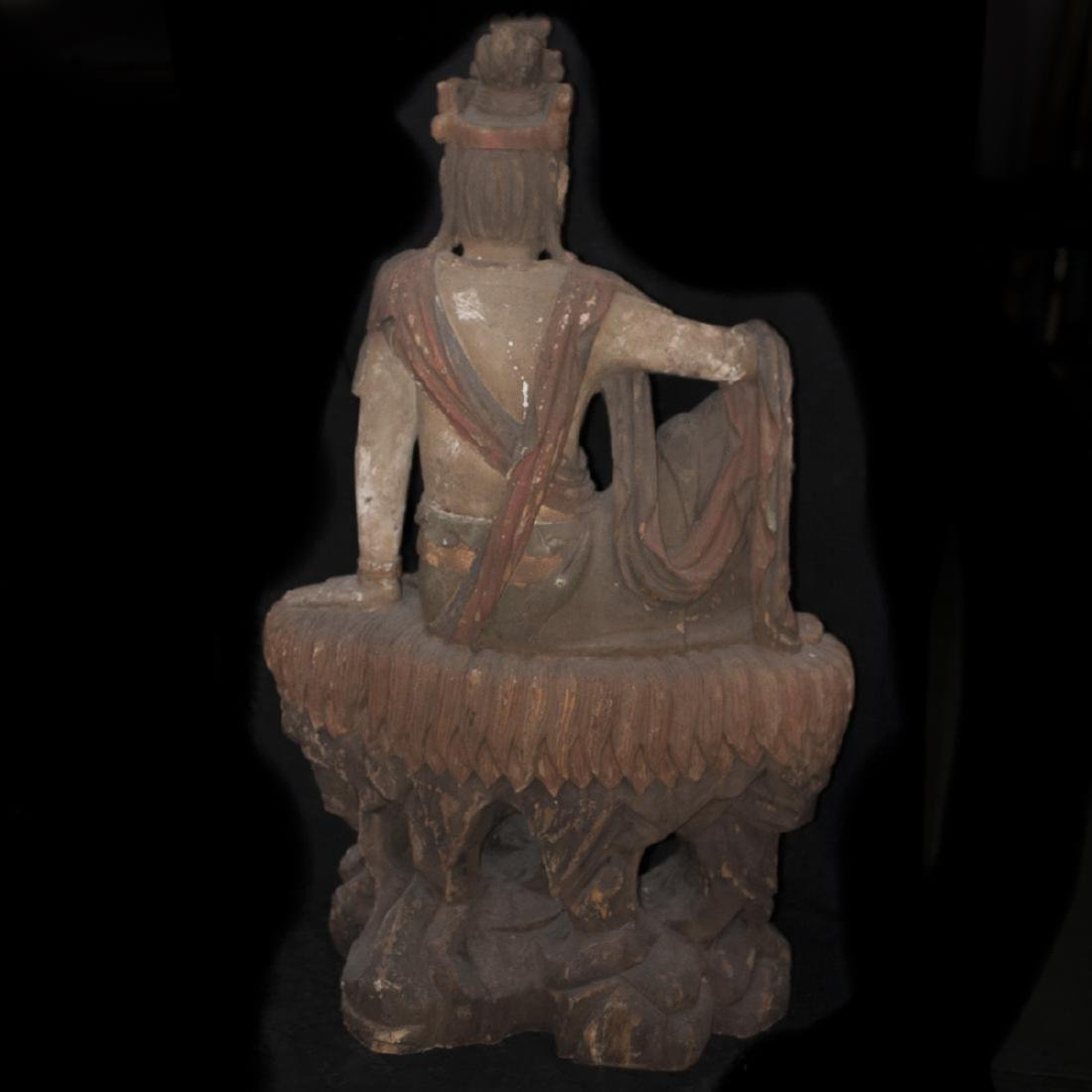 Antique Chinese Polychrome Wood Guanyin - 8