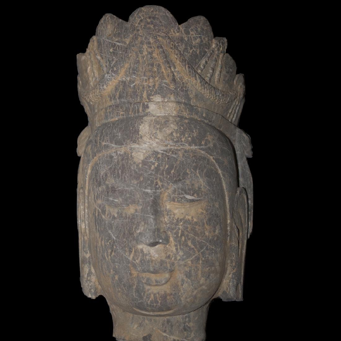Antique Carved Stone Guanyin Head