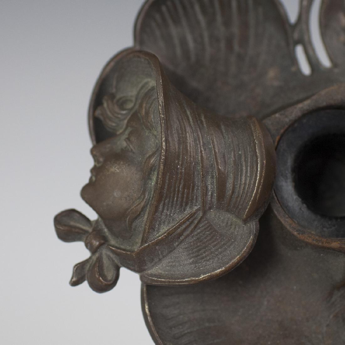 Art Nouveau Bronze Inkwell - 2