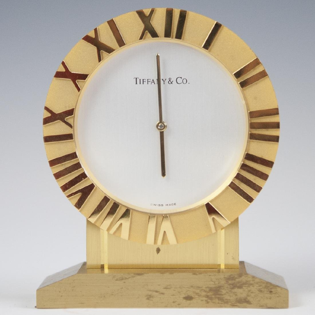 Tiffany & Co. Gilt Brass Desk Clock