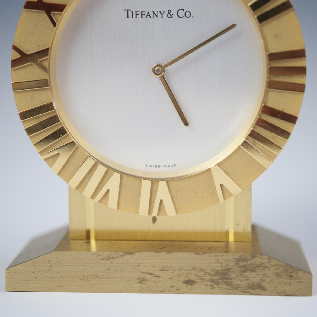 Tiffany & Co. Gilt Brass Desk Clock - 4