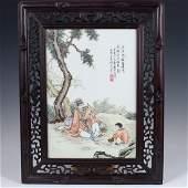 Antique Chinese Porcelain Enameled Plaque