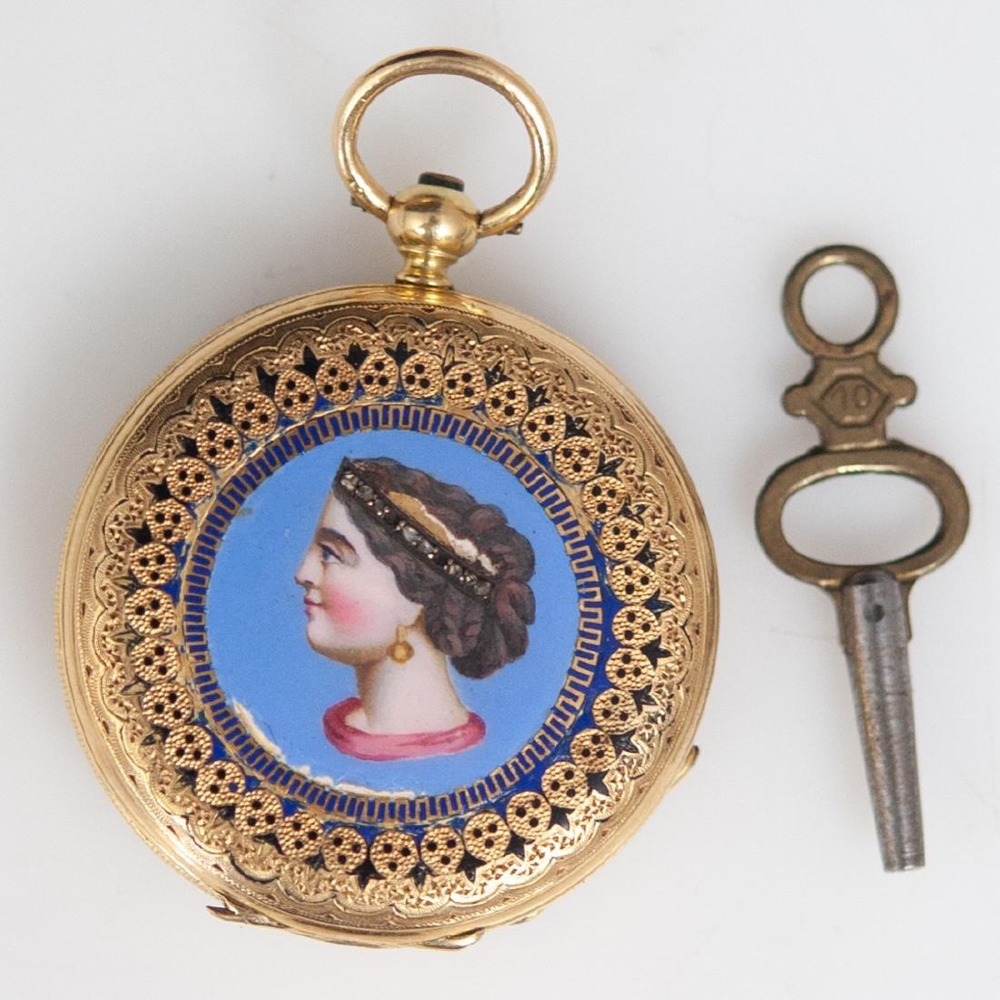 Vacheron 18kt Gold Enameled Pocket Watch