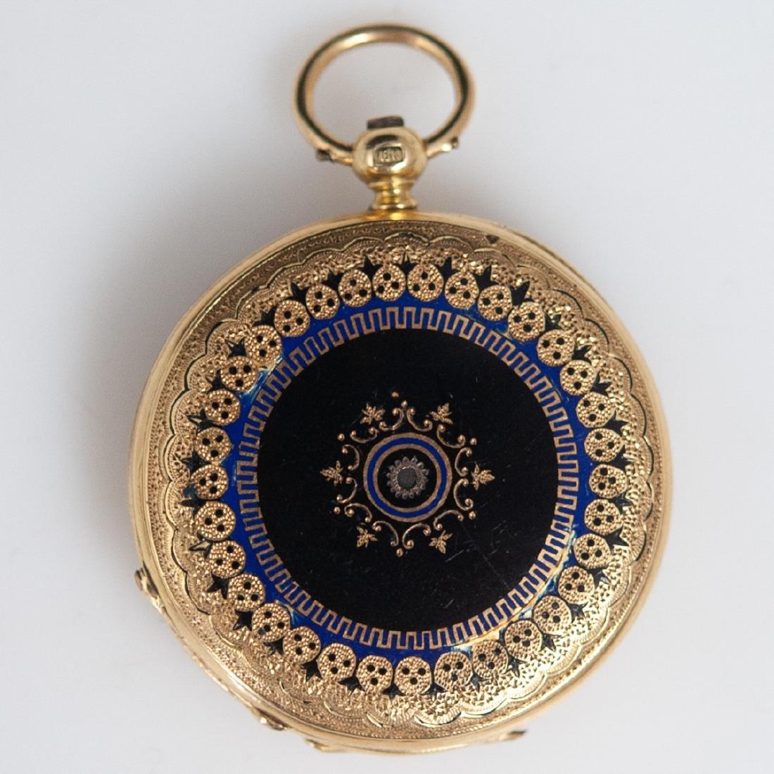 Vacheron 18kt Gold Enameled Pocket Watch - 3