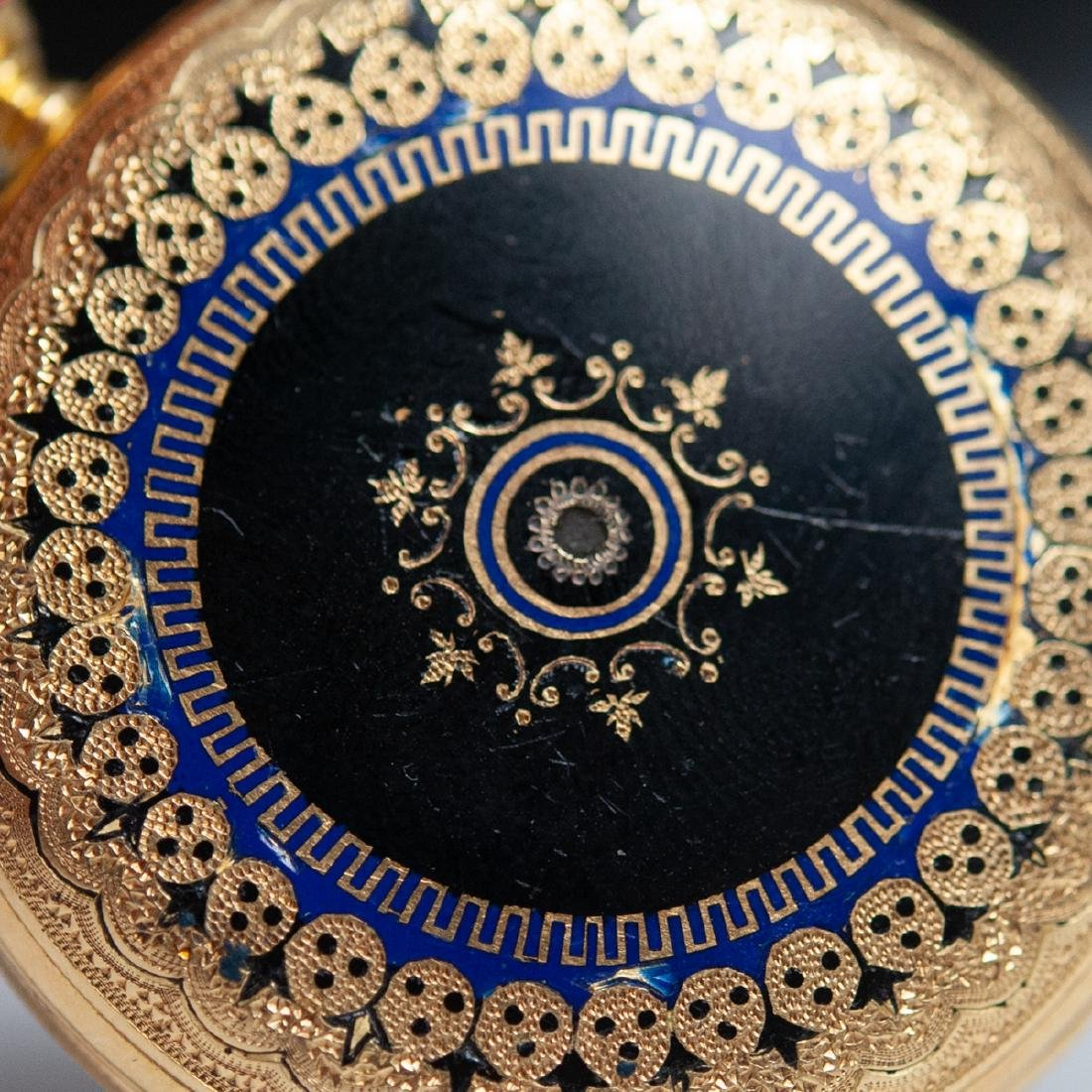 Vacheron 18kt Gold Enameled Pocket Watch - 4