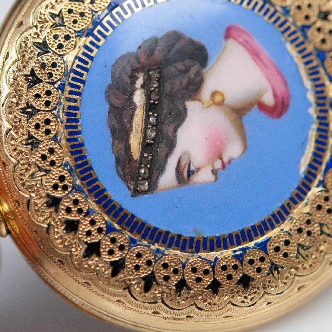 Vacheron 18kt Gold Enameled Pocket Watch - 5