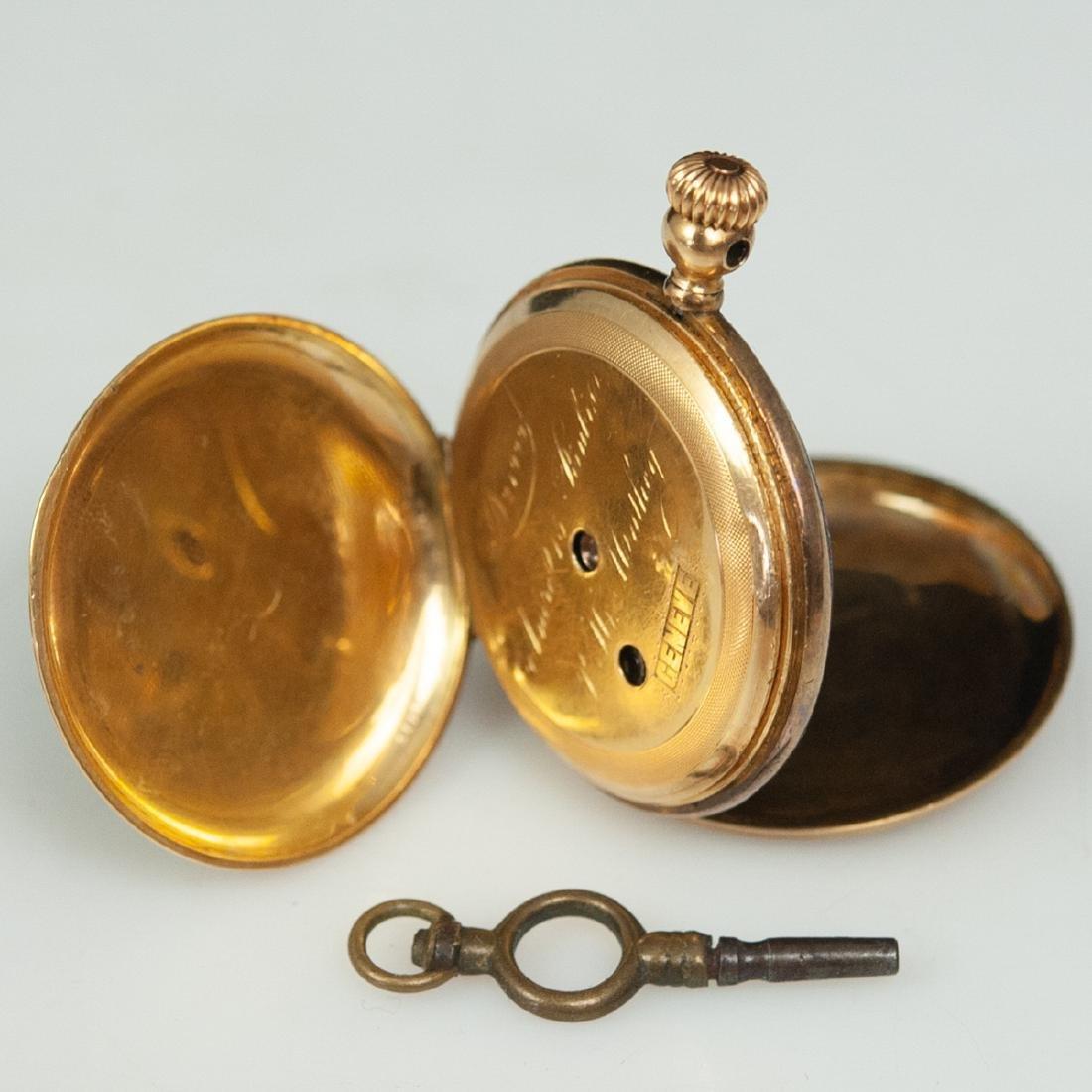 Swiss 18kt Gold Enameled Pocket Watch - 3