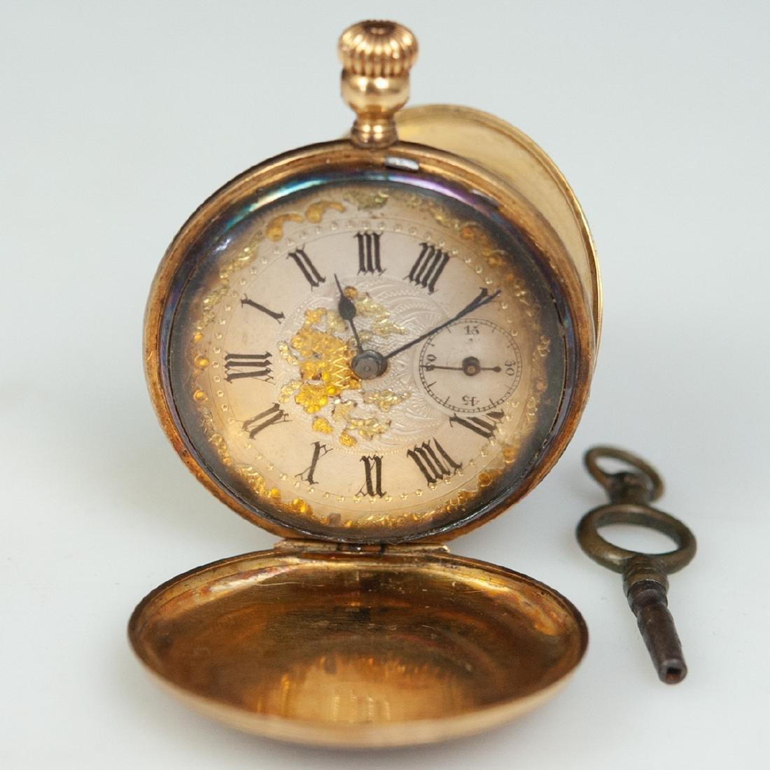 Swiss 18kt Gold Enameled Pocket Watch - 4
