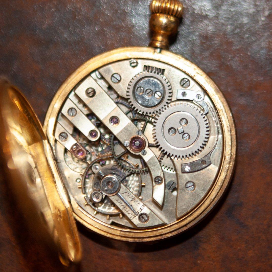 Swiss 18kt Gold Enameled Pocket Watch - 7
