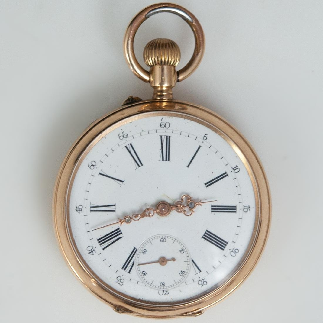 Antique Swiss 14kt Rose Gold Pocket Watch
