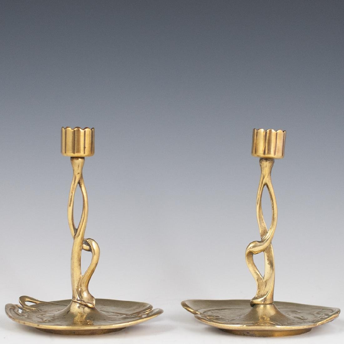 German Art Nouveau Dore Bronze Candlesticks