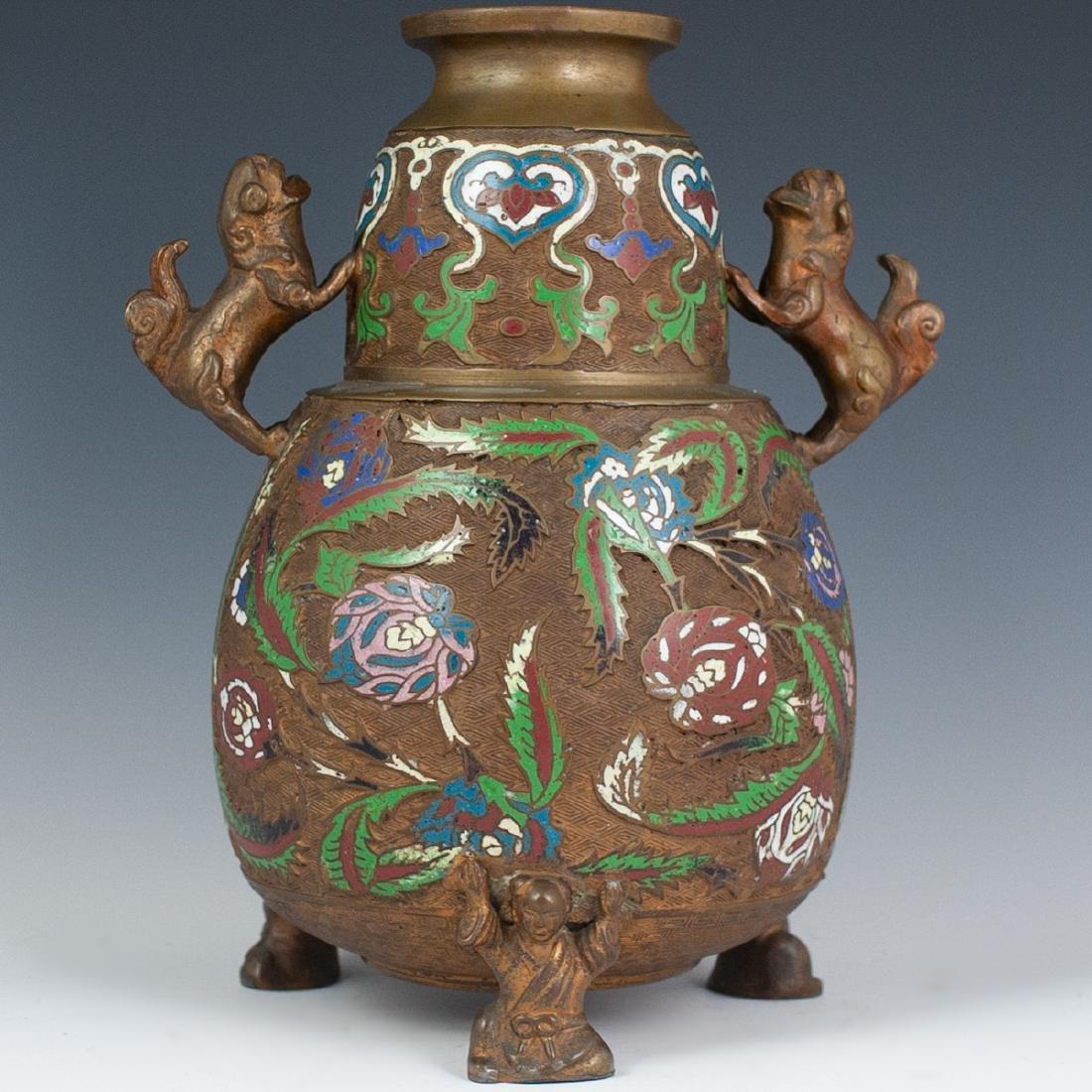 Japanese Enameled Cloisonne Bronze Vase