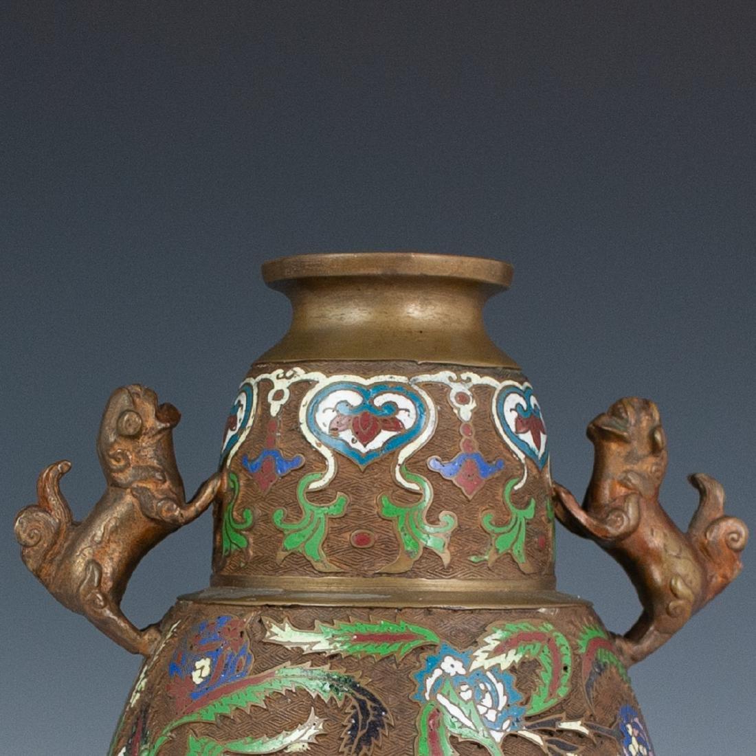 Japanese Enameled Cloisonne Bronze Vase - 2