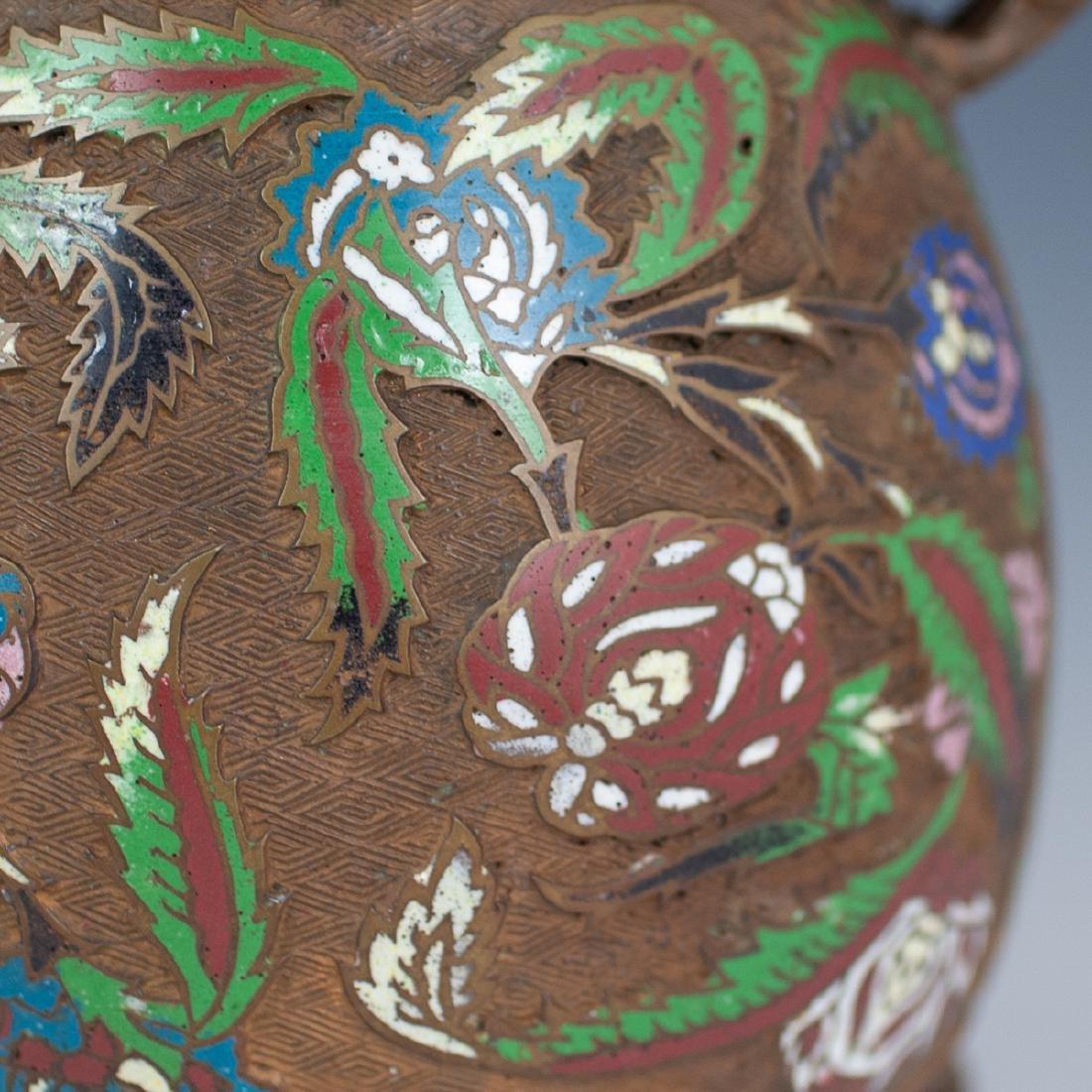 Japanese Enameled Cloisonne Bronze Vase - 5