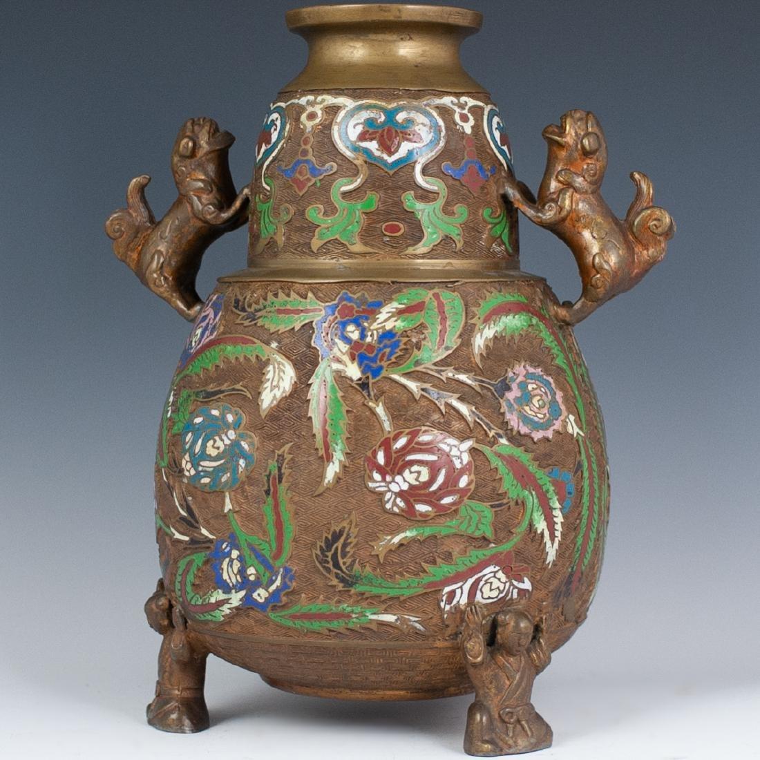 Japanese Enameled Cloisonne Bronze Vase - 6
