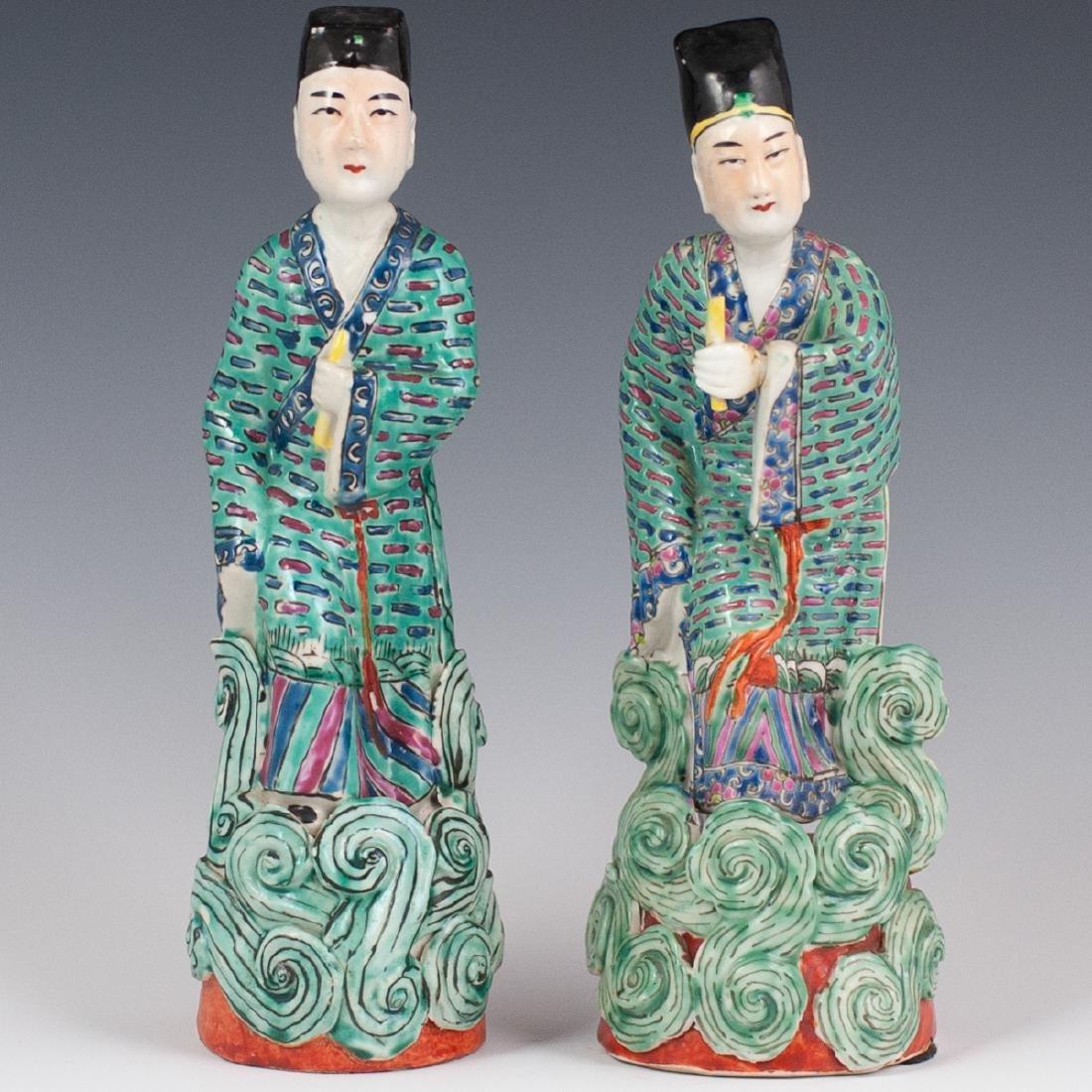 Chinese Republic Famille Verte Porcelain Figurines