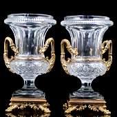 Baccarat Style Crystal & Dore Bronze Medici Vases
