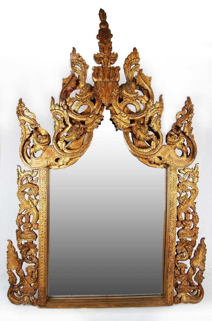 Antique Thai Carved Wood Mirror