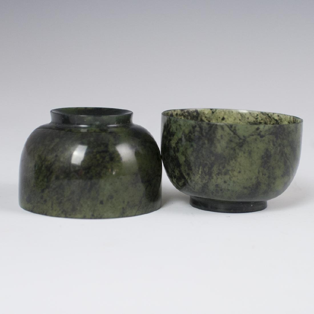 Chinese Carved Spinach Jade Cordial Cups - 5