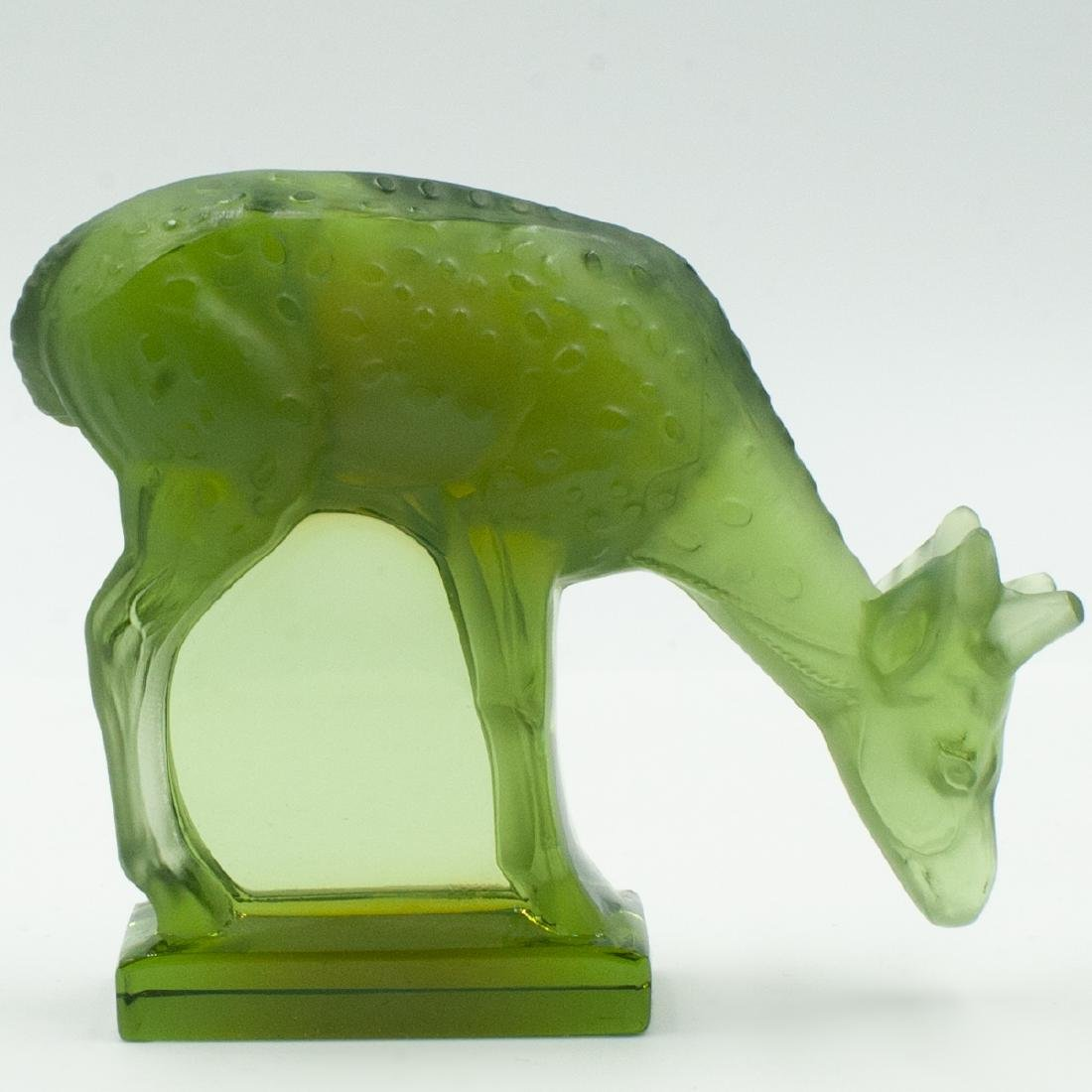 Lalique Colored Crystal Deer