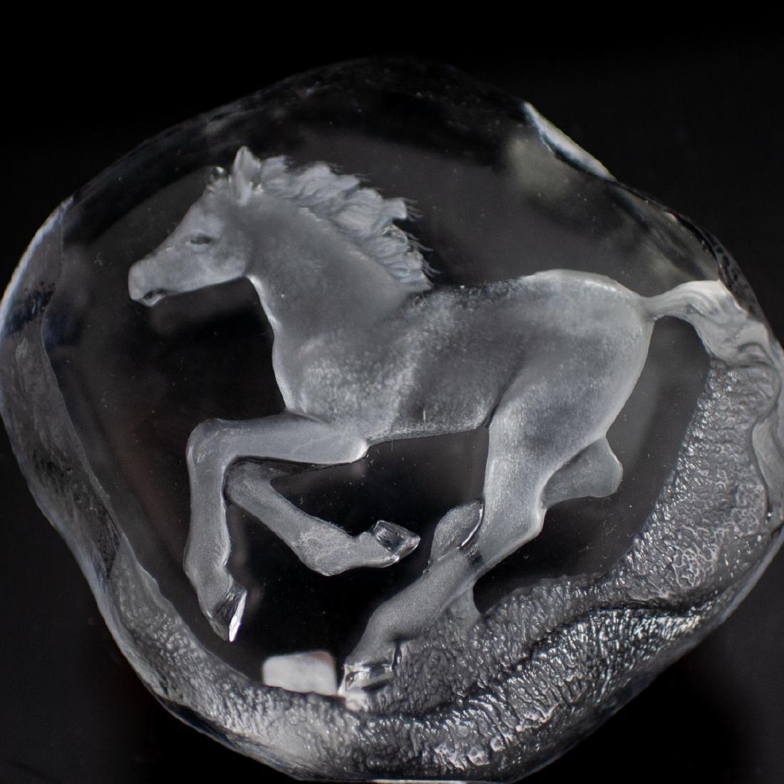 Two Mats Jonasson Crystal Paperweights - 2