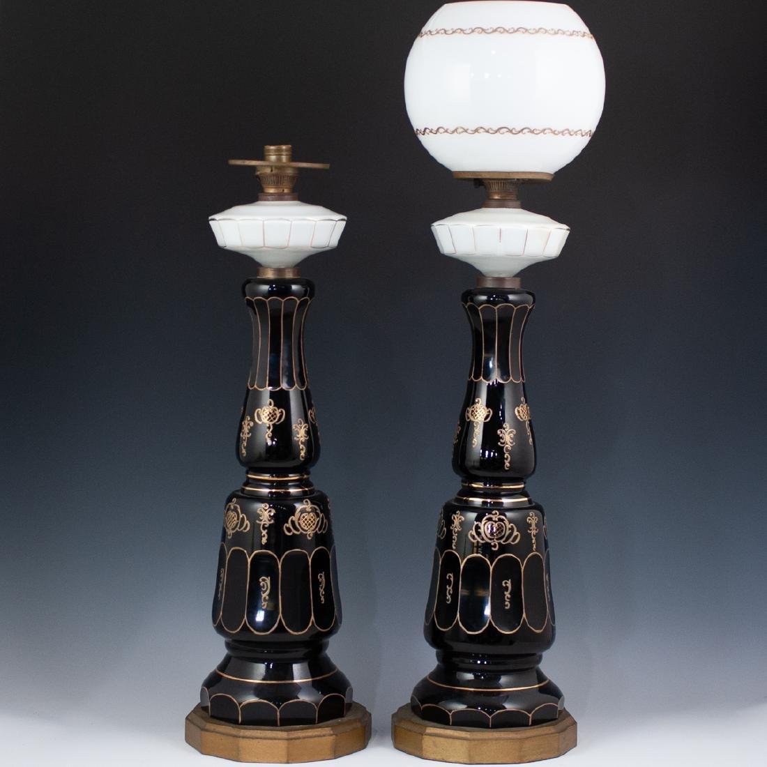 Pair Of Bohemian Monumental Glass Lamps