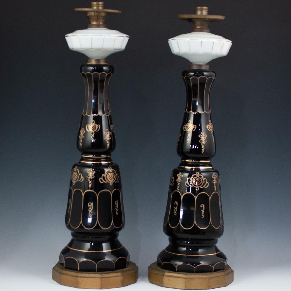 Pair Of Bohemian Monumental Glass Lamps - 2