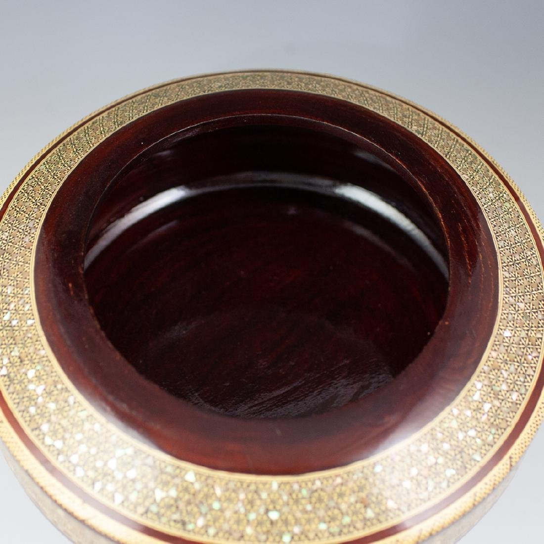 Wooden Mother Of Pearl Lidded Bowl - 6