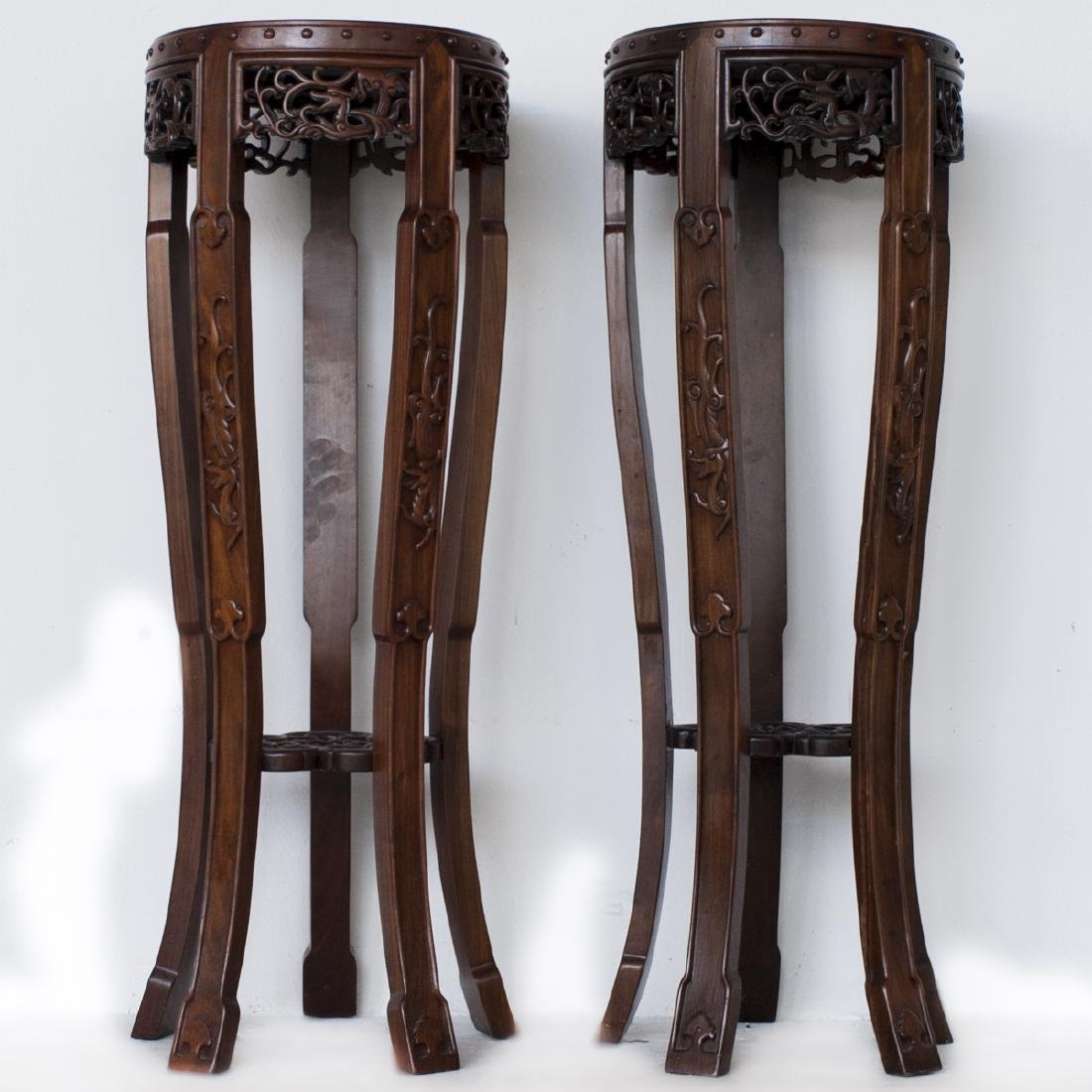 Pair Of Chinese Wooden Pedestals