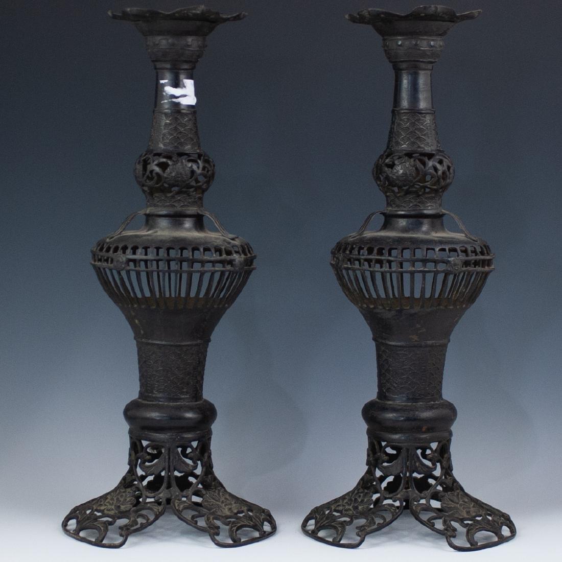 Japanese Bronze Altar Candlesticks