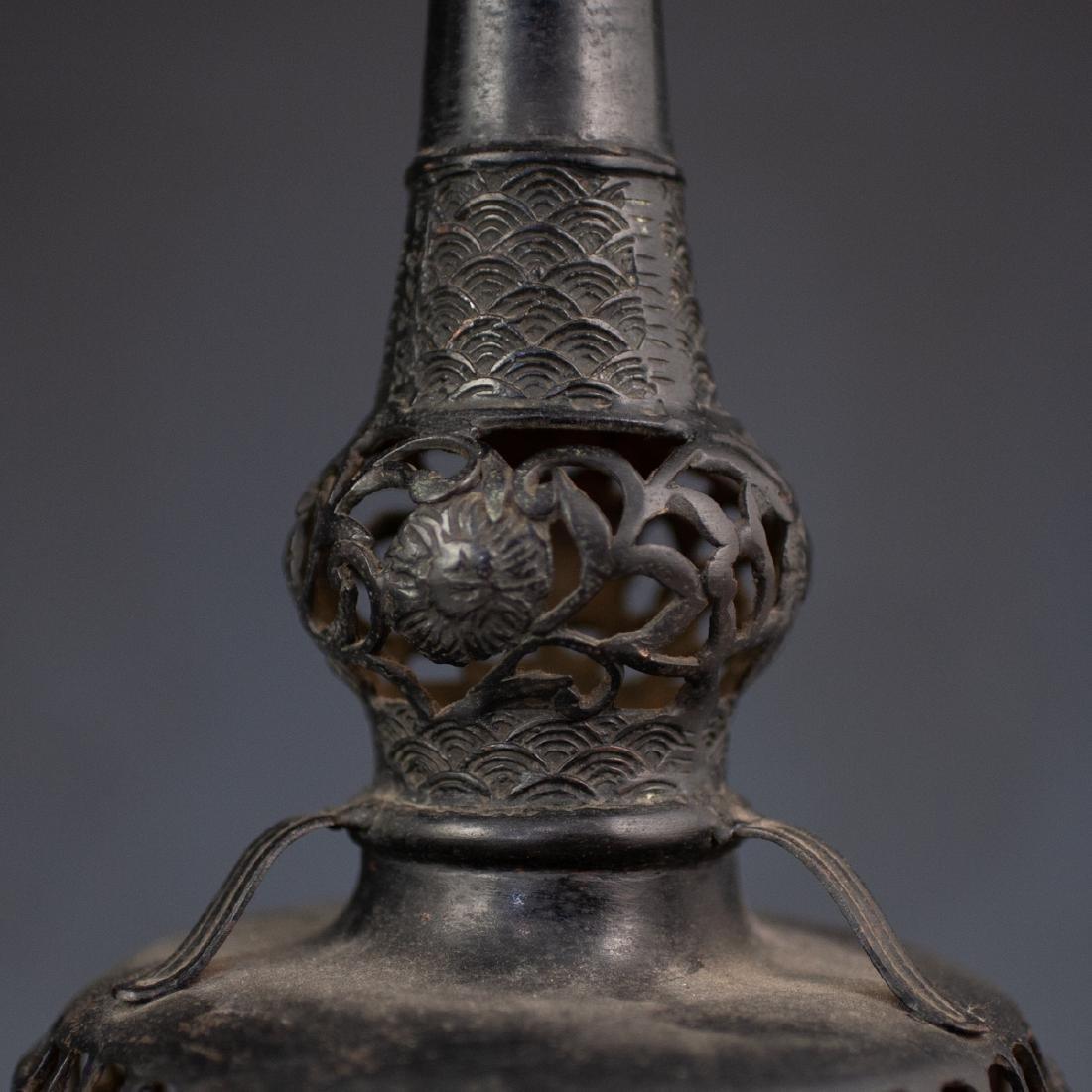 Japanese Bronze Altar Candlesticks - 3