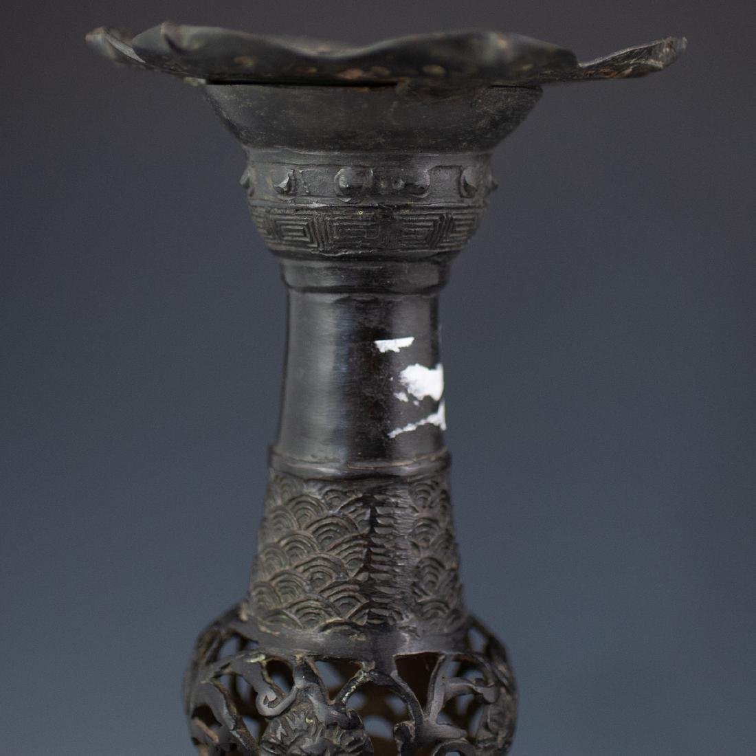 Japanese Bronze Altar Candlesticks - 7