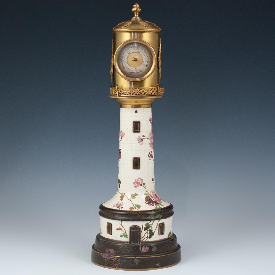 Antique Porcelain Lighthouse Clock/Barometer - 8