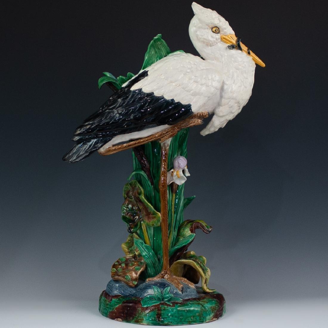 Joseph Holdcroft Majolica Heron Vase