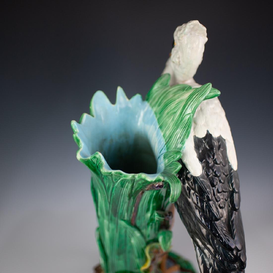 Joseph Holdcroft Majolica Heron Vase - 4