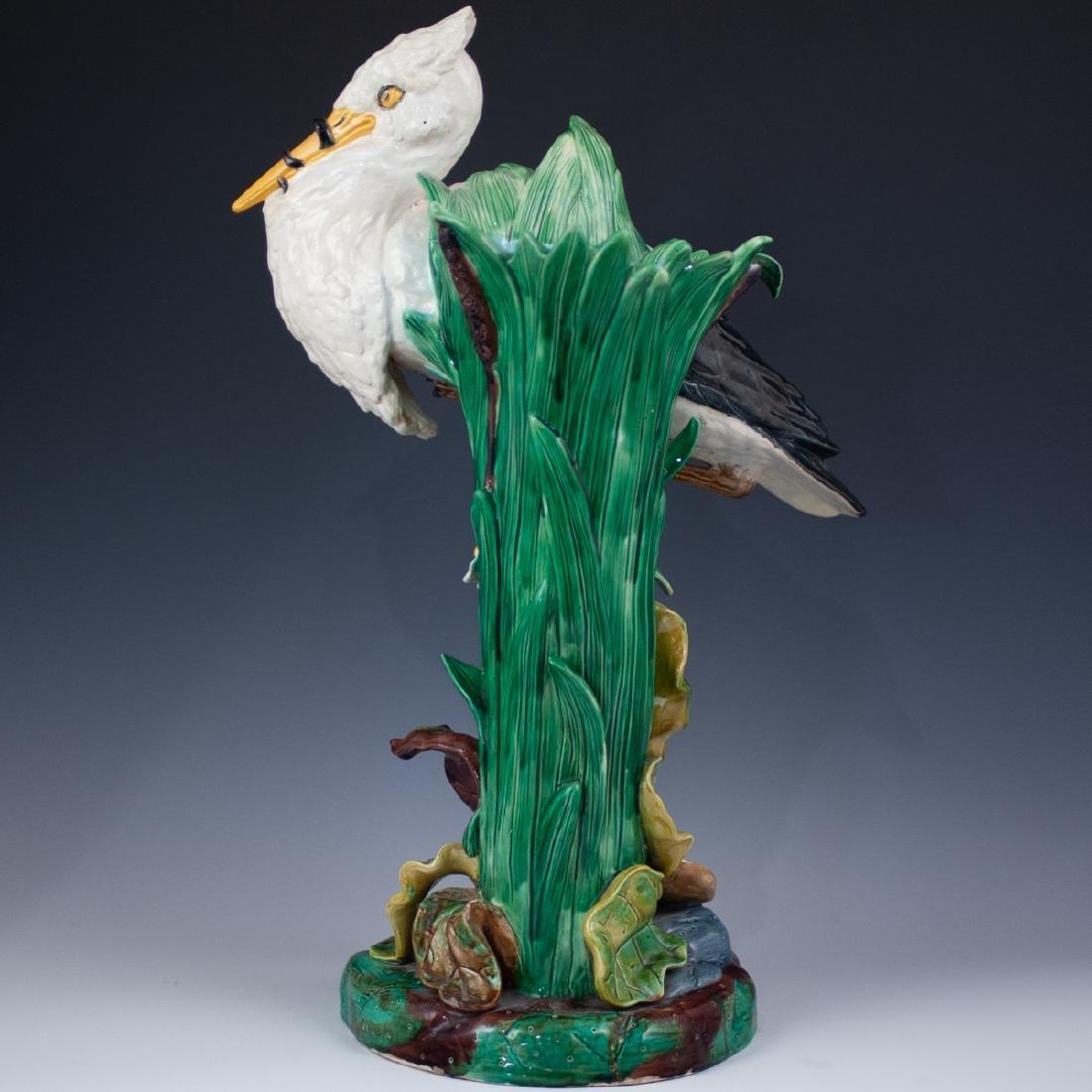 Joseph Holdcroft Majolica Heron Vase - 5