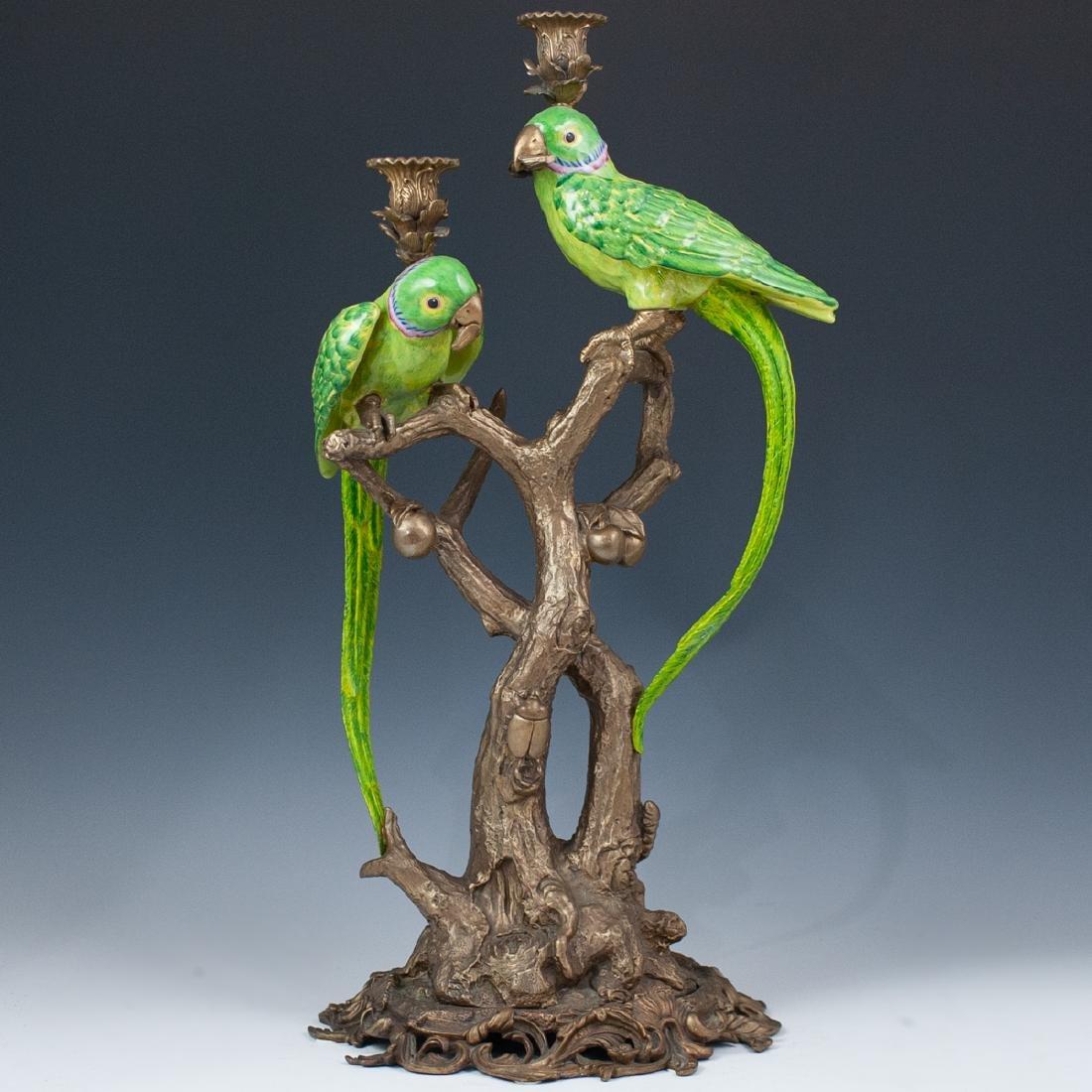 Bronze Figural Parakeet Candelabra