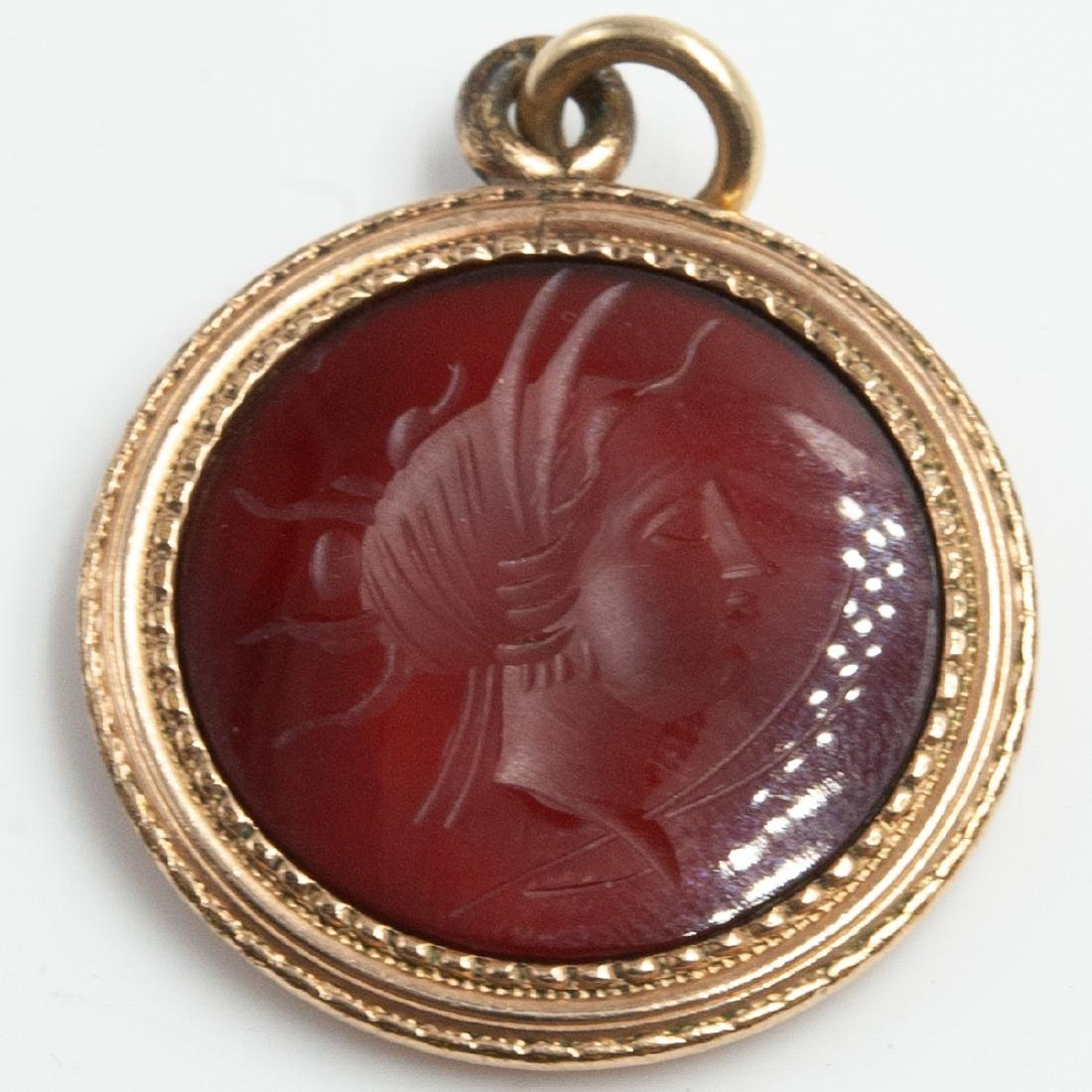 Vintage Red Carnelian Intaglio Pendant - 2
