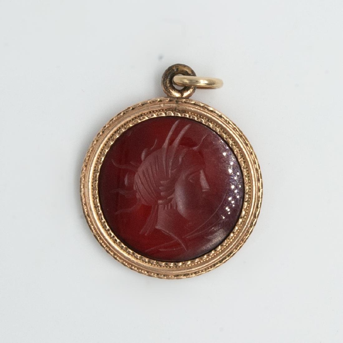 Vintage Red Carnelian Intaglio Pendant - 3