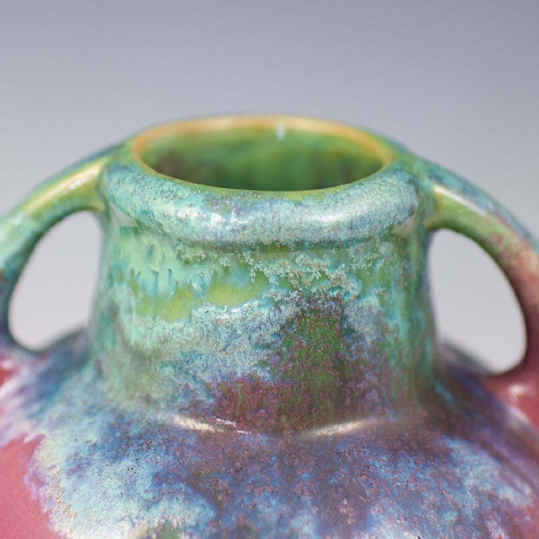 "Fulper Mid-Century ""Moss to Rose"" Pottery Vase - 2"