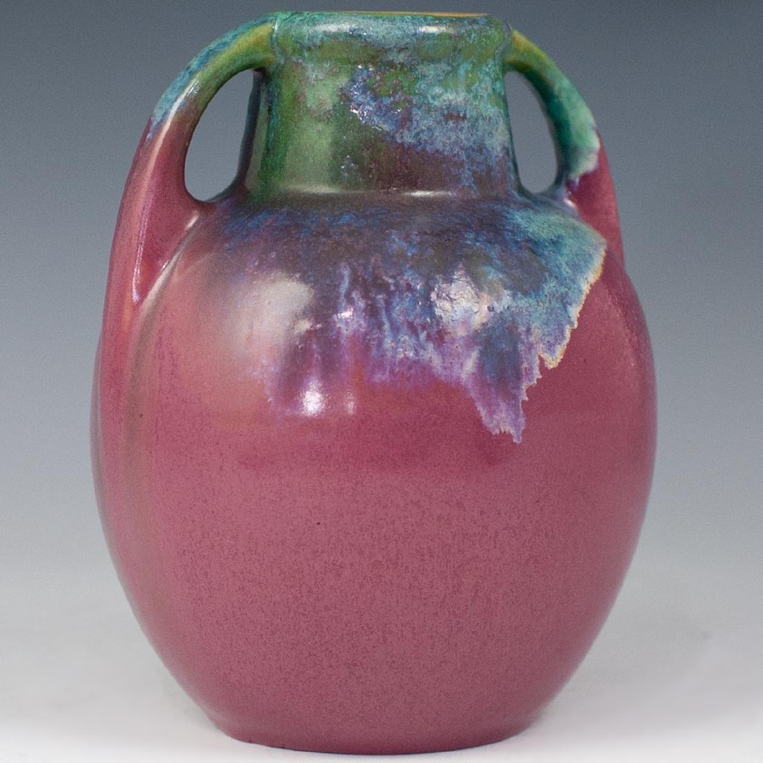 "Fulper Mid-Century ""Moss to Rose"" Pottery Vase - 4"