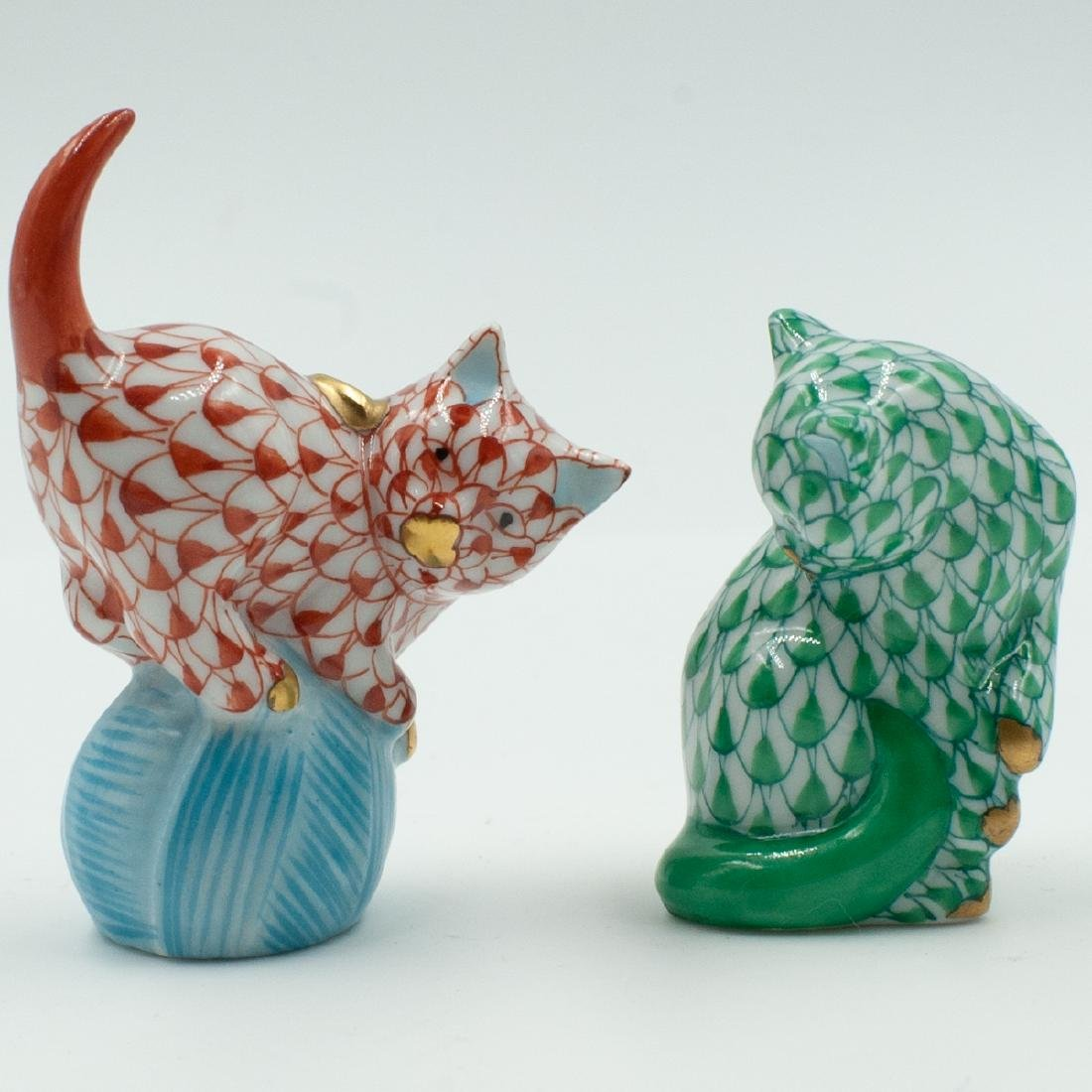Two Herend Miniature Porcelain Cats
