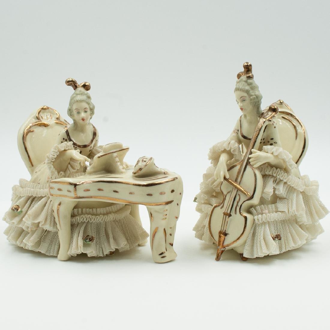 Pair Of Dresden Porcelain Musicians