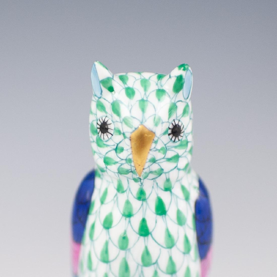 Herend Fishnet Porcelain Owl - 2