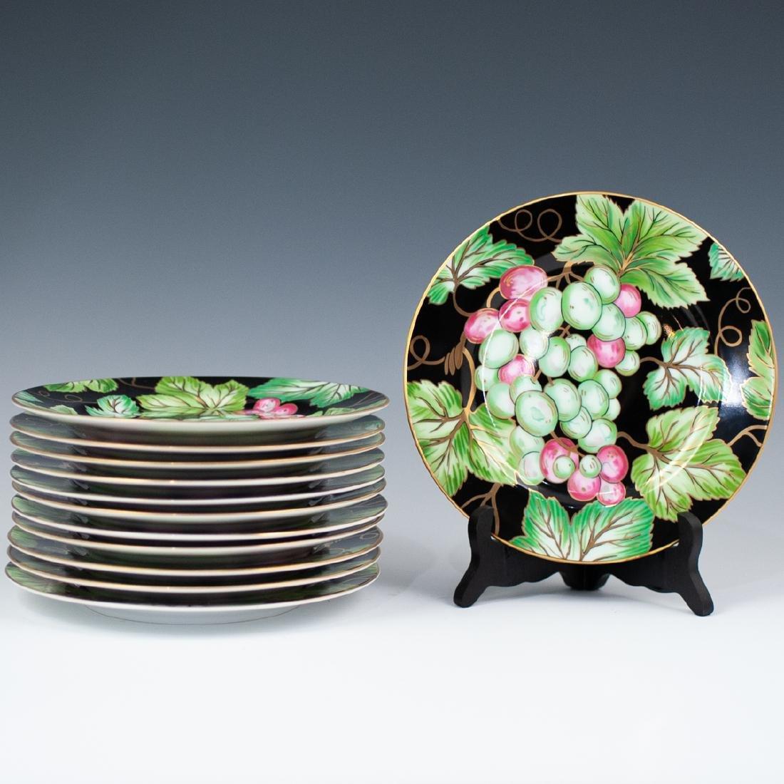 """Fitz & Floyd """"Bordeaux Noir"""" Porcelain Plates"""