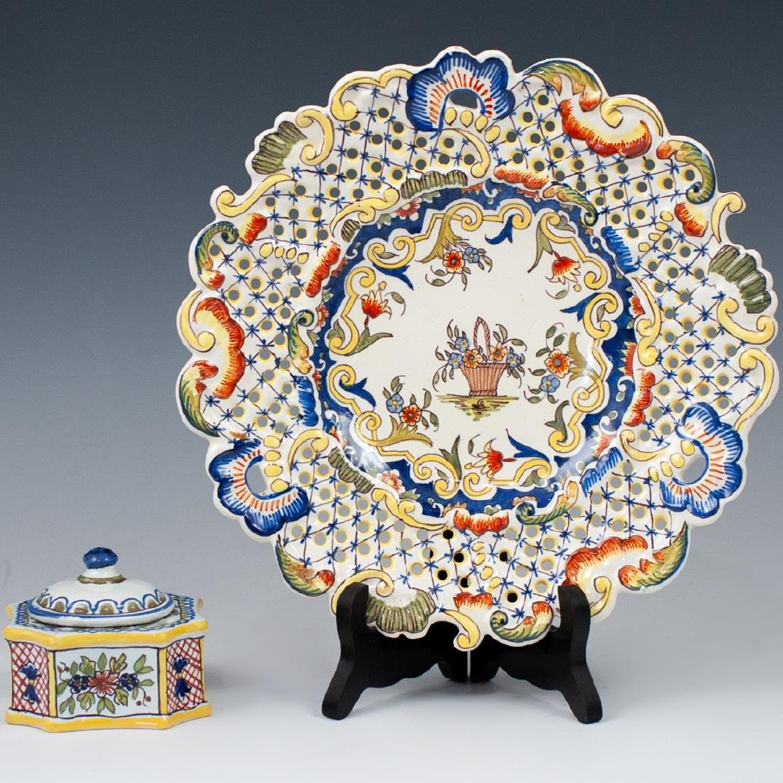 French Faience Inkwell & Plate