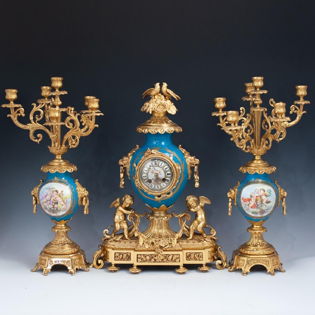 Japy Freres Sevres bronze gilt clock