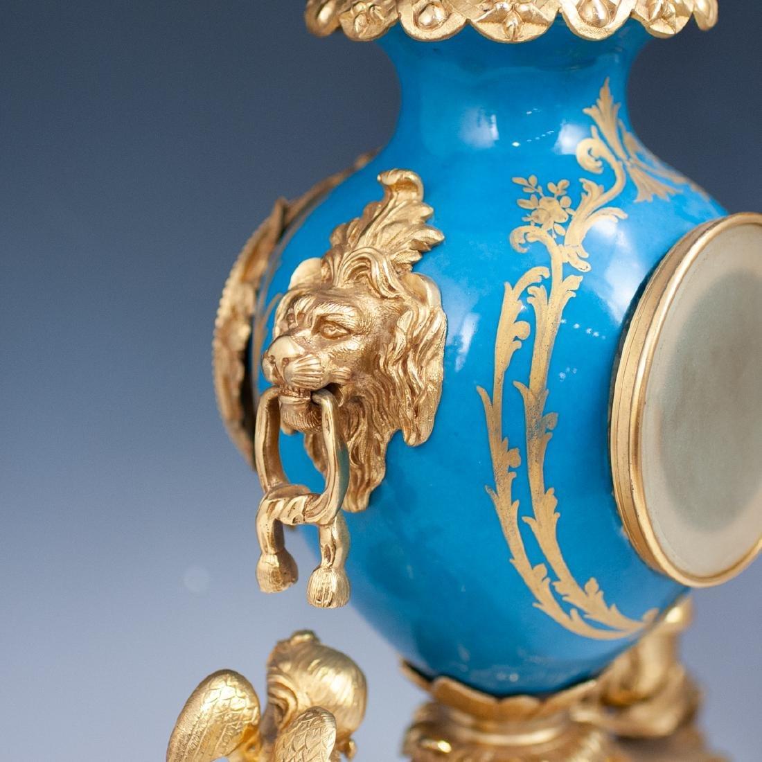Japy Freres Sevres bronze gilt clock - 5