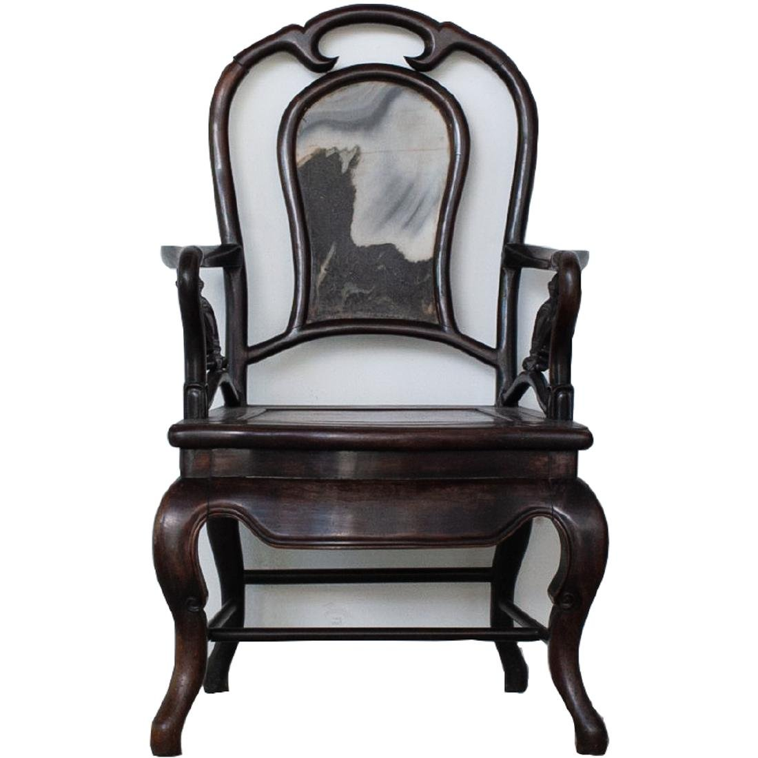 Carved Chinese Wooden Arm Chair